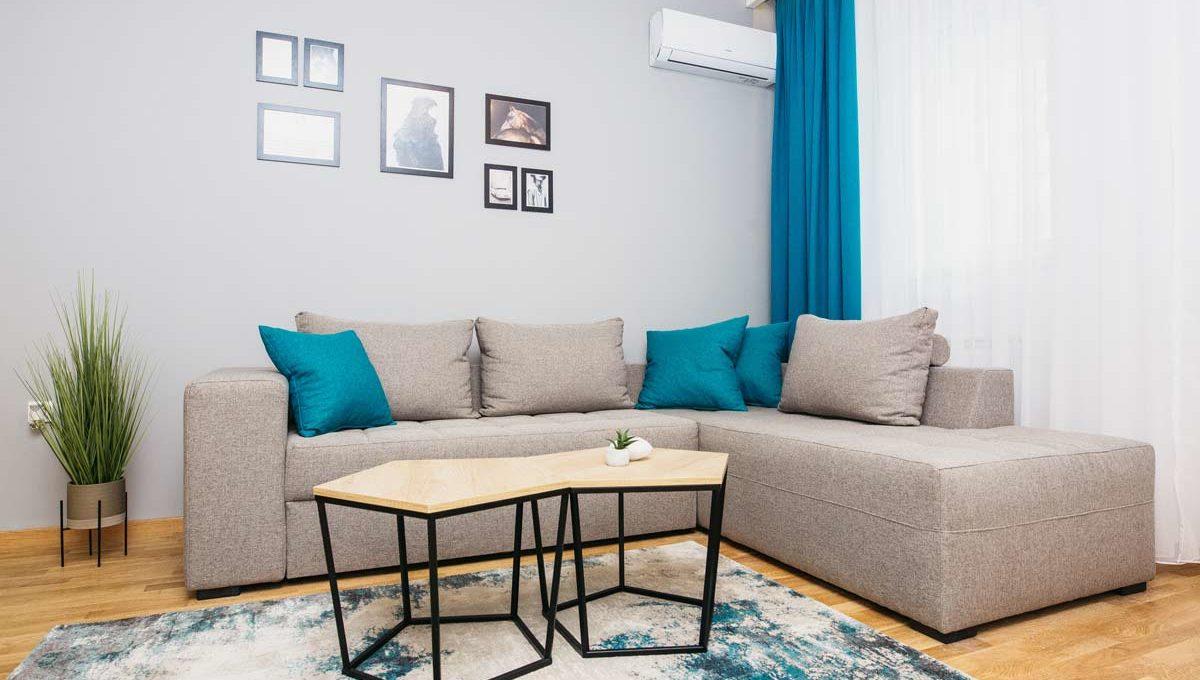 Apartment A1 gray couch with blue pillows
