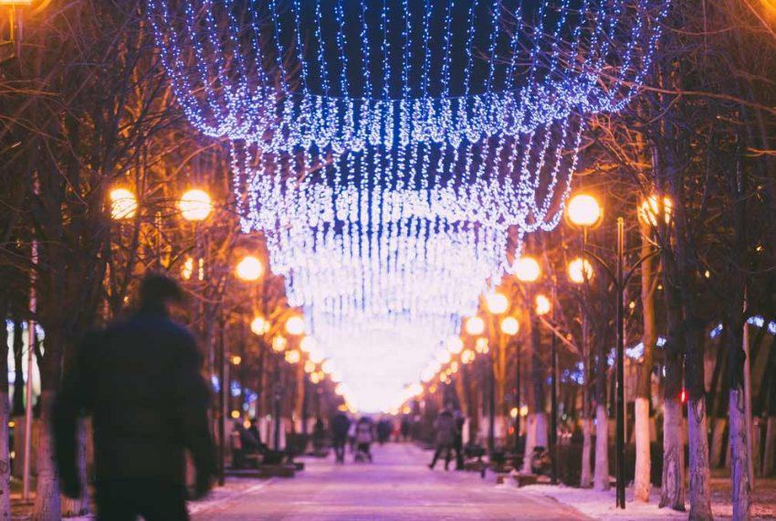 Christmas lights on the street